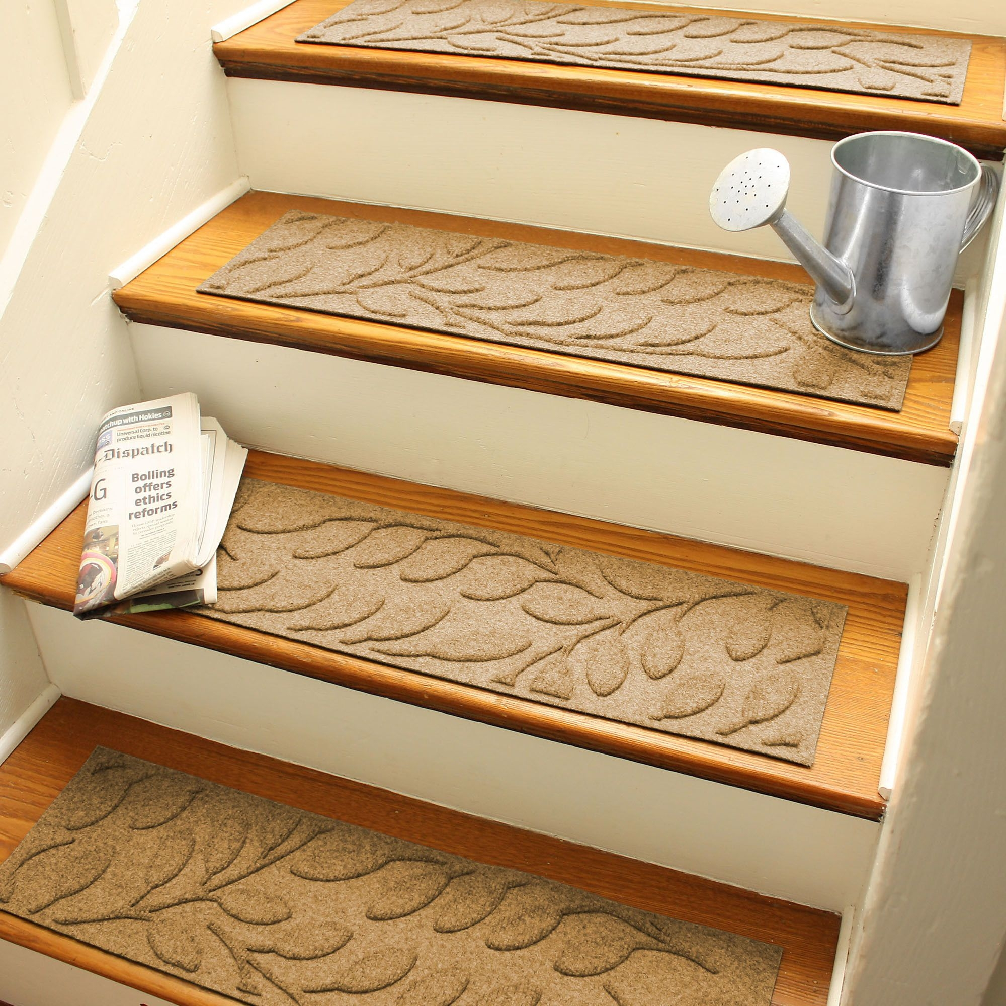 Aqua Shield Gold Brittany Leaf Stair Tread Home Ideas Regarding Basket Weave Washable Indoor Stair Tread Rugs (Image 3 of 15)
