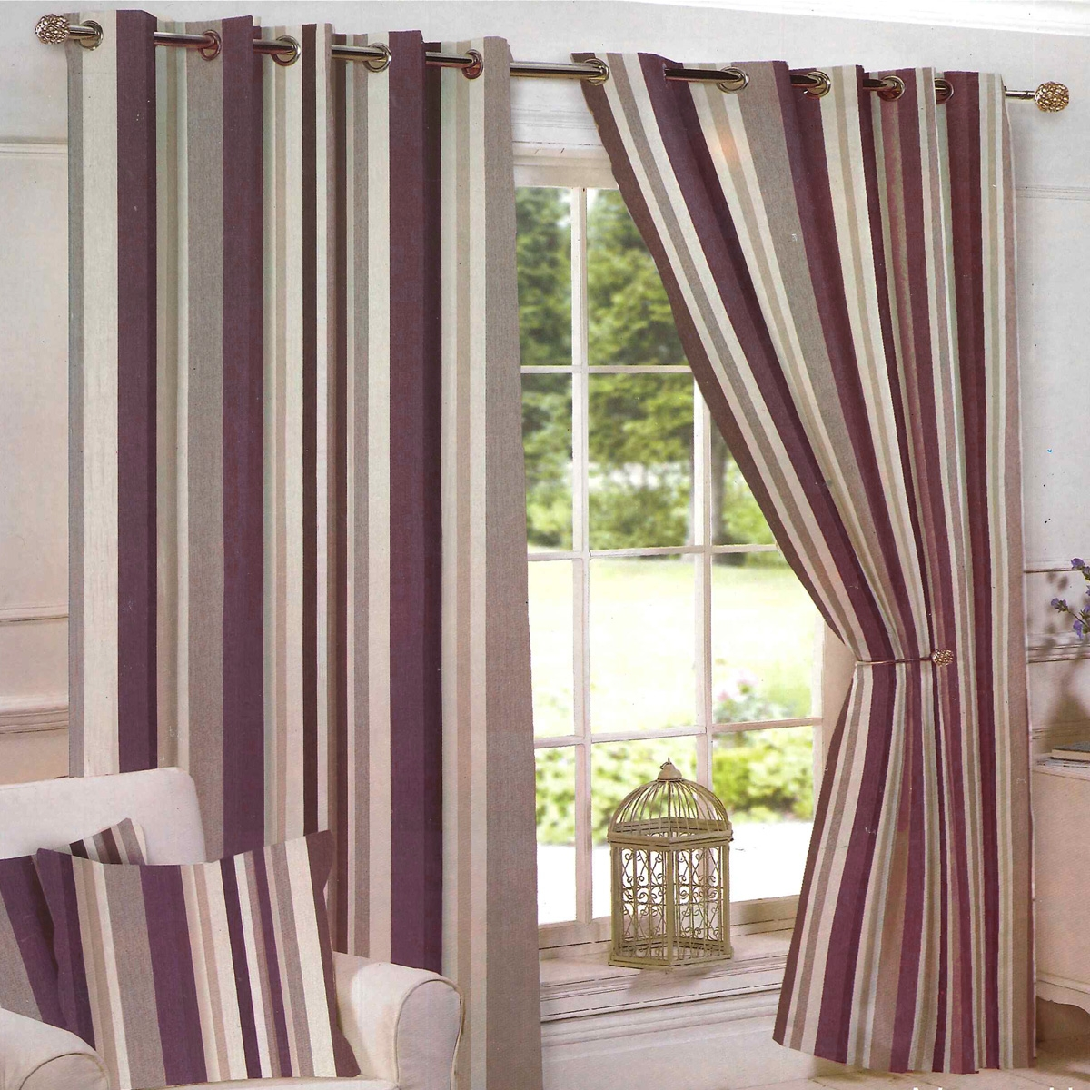Arizona Stripe Plum Ready Made Eyelet Curtains Harry Corry Limited Within Brown Eyelet Curtains (Image 2 of 25)