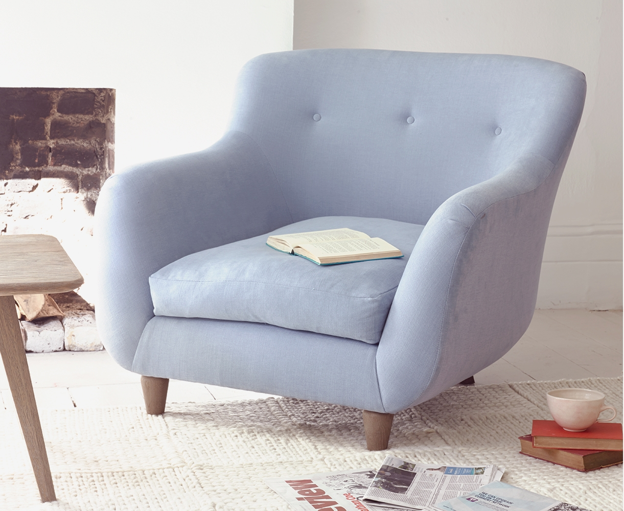 Armchair Light Blue Armchair With Small Wood Leg For Your Small Pertaining To Small Armchairs Small Spaces (Image 1 of 15)