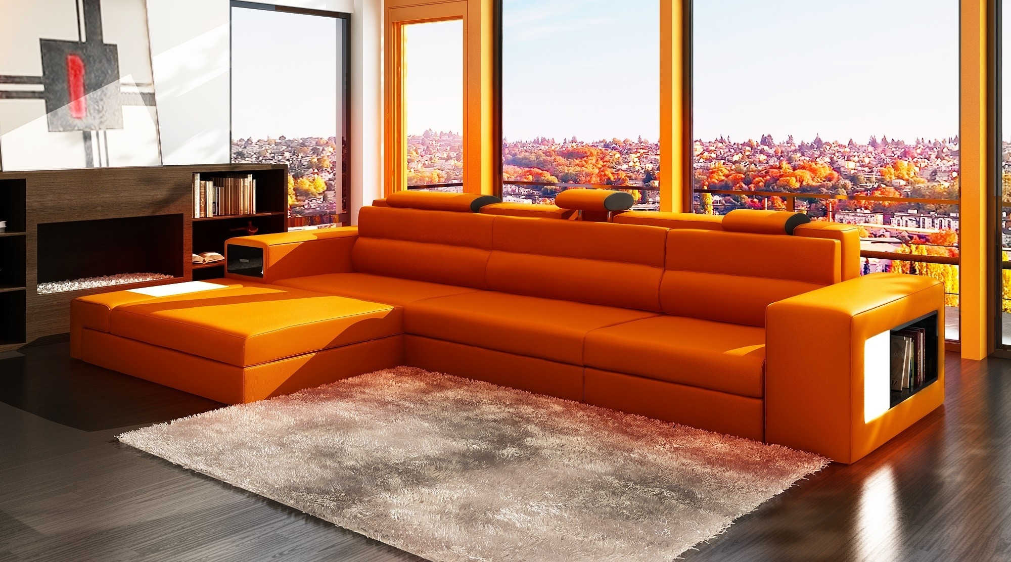 Art Deco Leather Sofa Uk Modern Sofas Within Orange Sofa Chairs (Image 4 of 15)