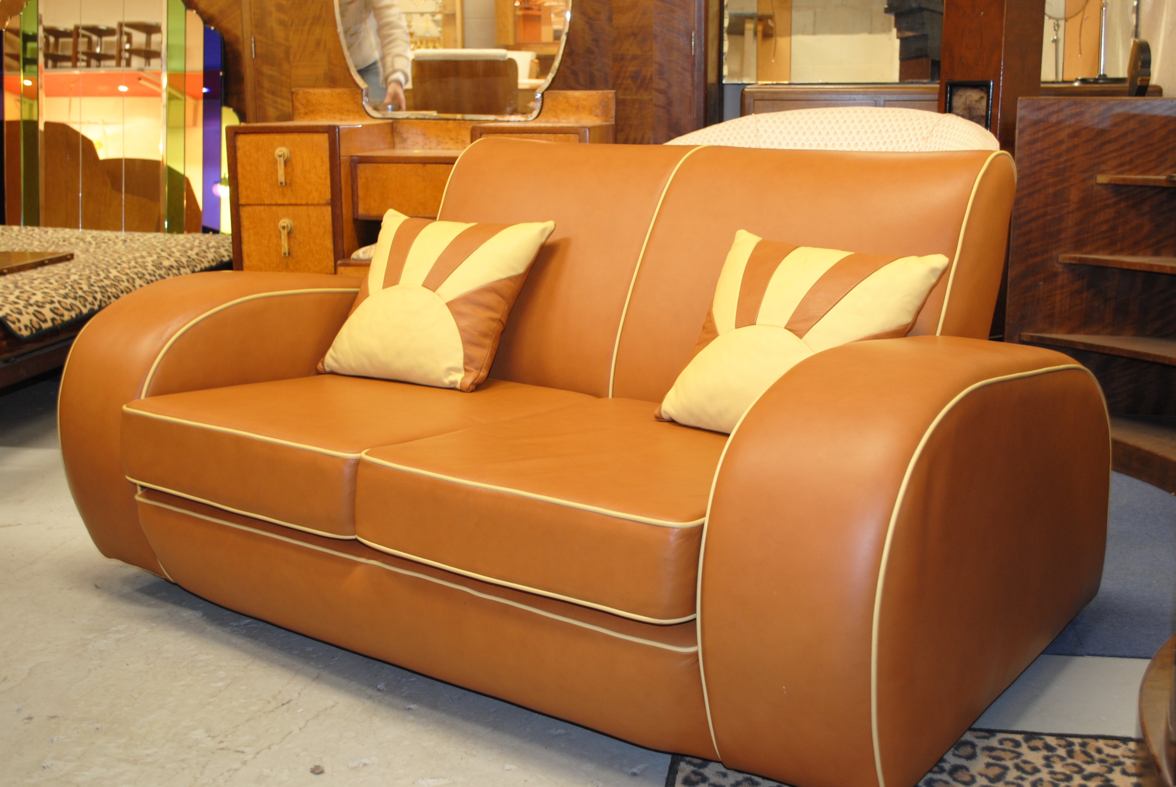 Art Deco Style Leather Sofa Sofa Menzilperde Inside Art Deco Sofa And Chairs (Image 10 of 15)