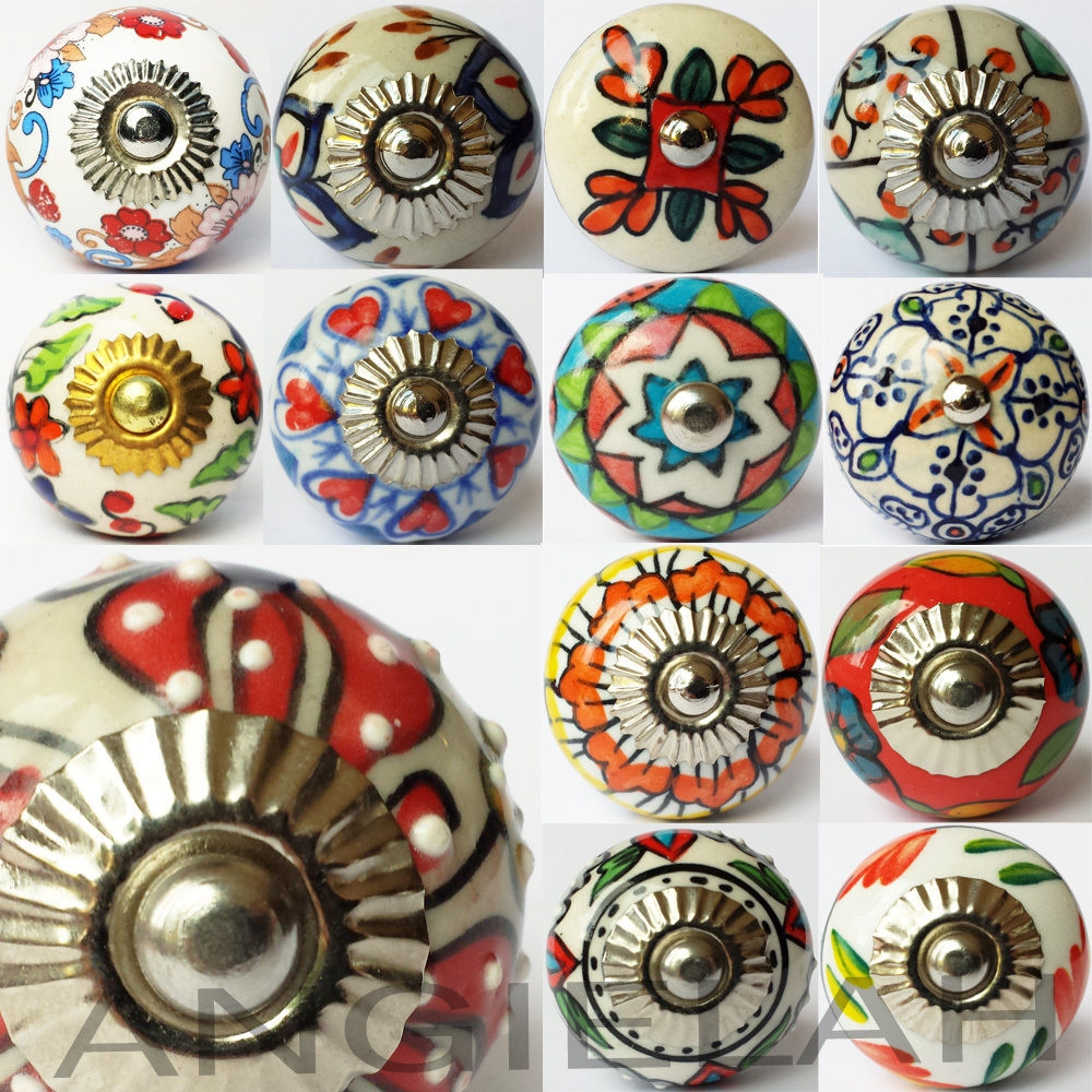 Artisan Ceramic Knob Door Handles Pull Hippy Arty Multi Coloured In Vintage Cupboard Handles (View 12 of 25)