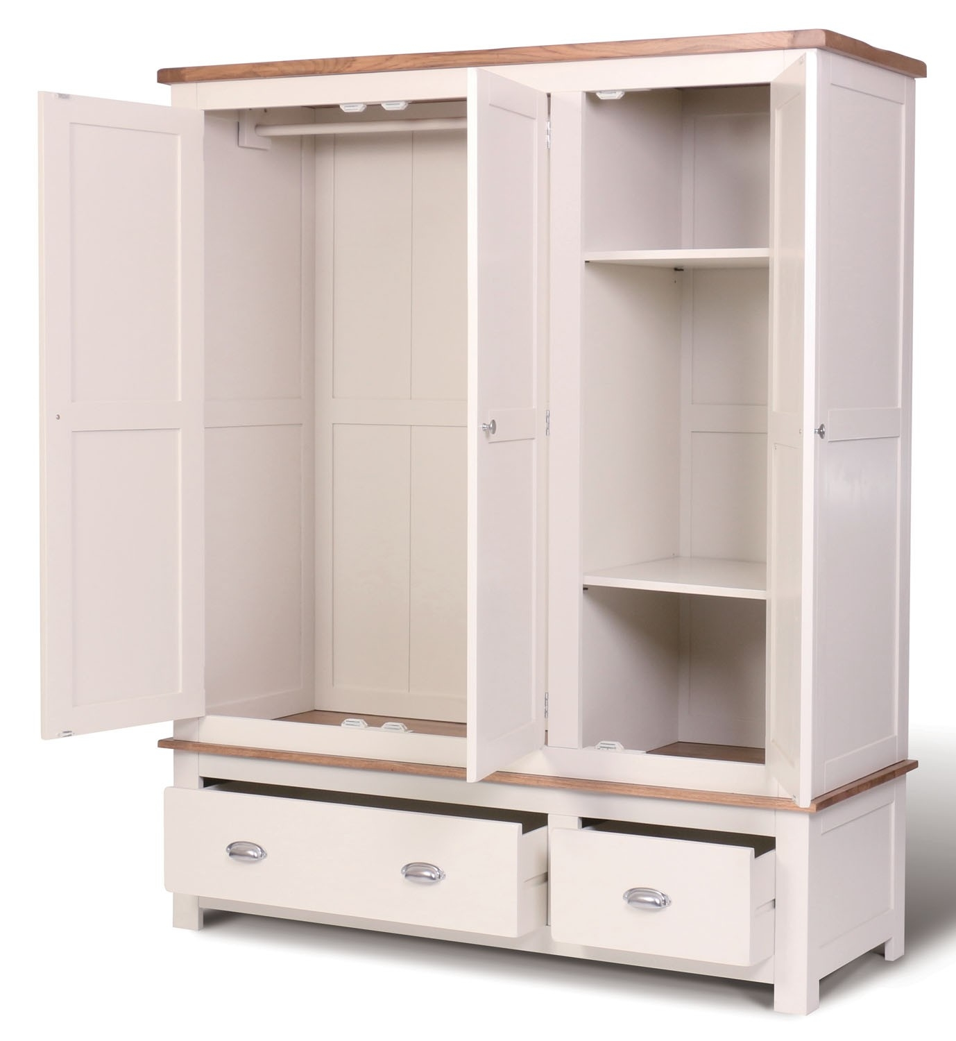Ascot Triple Wardrobe With Drawers Wardrobes Bedroom Hallowood With Regard To Wardrobes With Drawers And Shelves (Image 1 of 15)