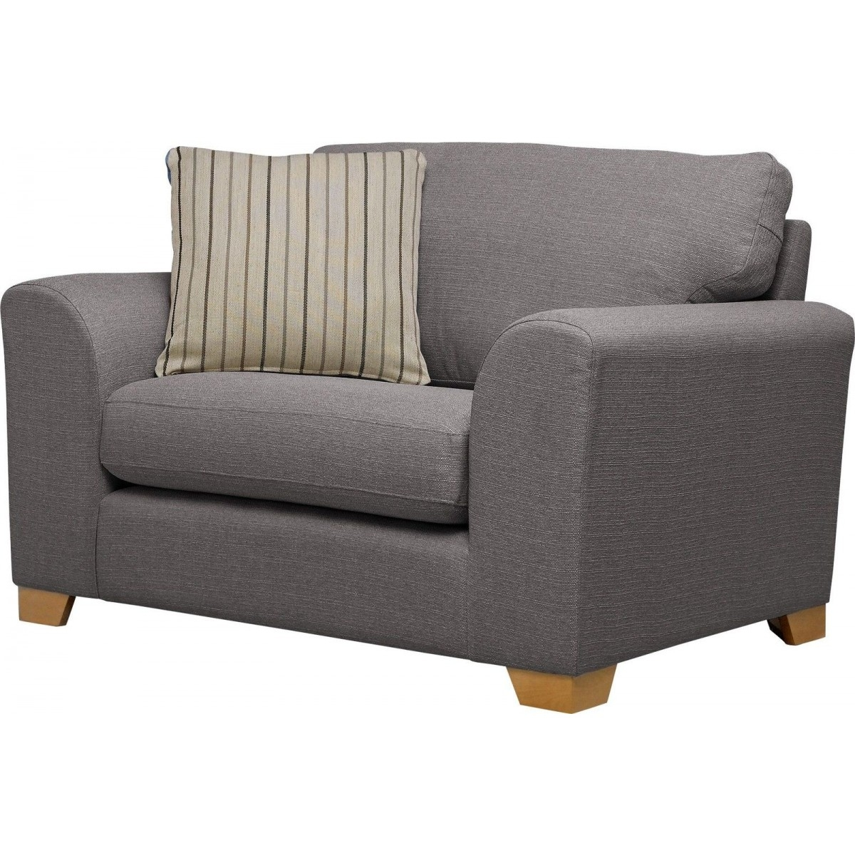 Ashdown Fabric Cuddle Chair Grey Furnico Village For Snuggle Sofas (Image 2 of 15)