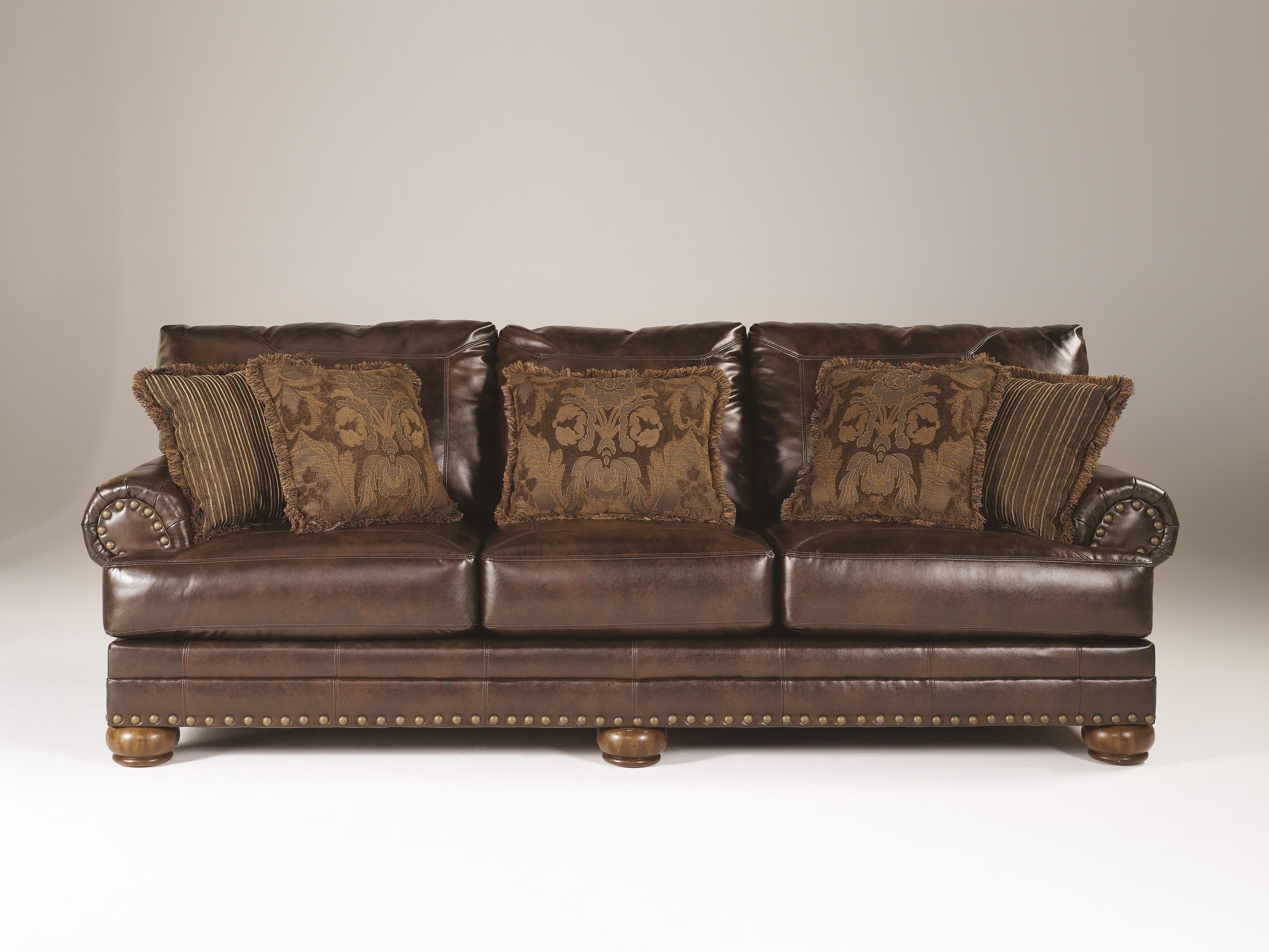Ashley Brown Leather Durablend Antique Chair 12 Ashley Intended For Antique Sofa Chairs (View 9 of 15)