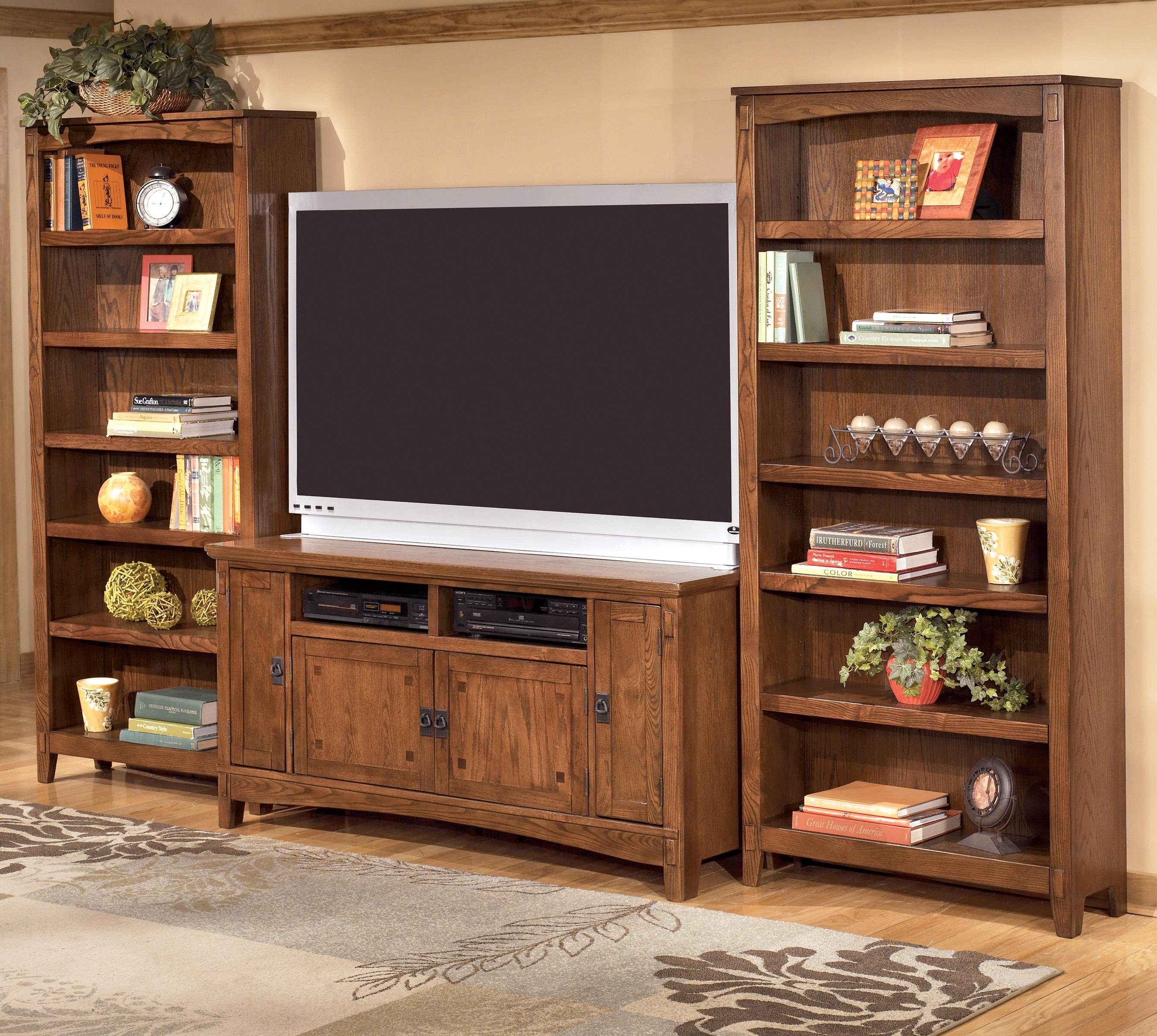 Ashley Furniture Cross Island 60 Inch Tv Stand 2 Large Bookcases Regarding Tv Cabinet And Bookcase (Image 1 of 15)