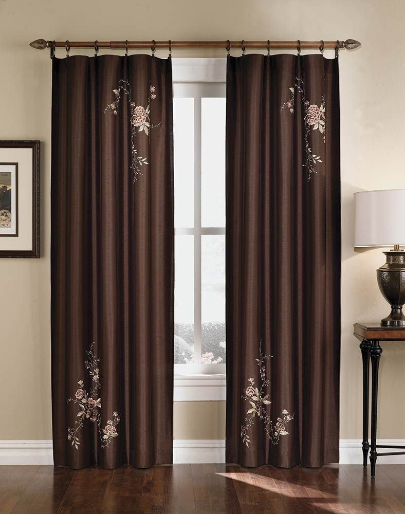 Asia Faux Silk Shimmer Floral Embroidered Panel Curtainworks With Regard To Asian Curtains Drapes (Image 5 of 25)
