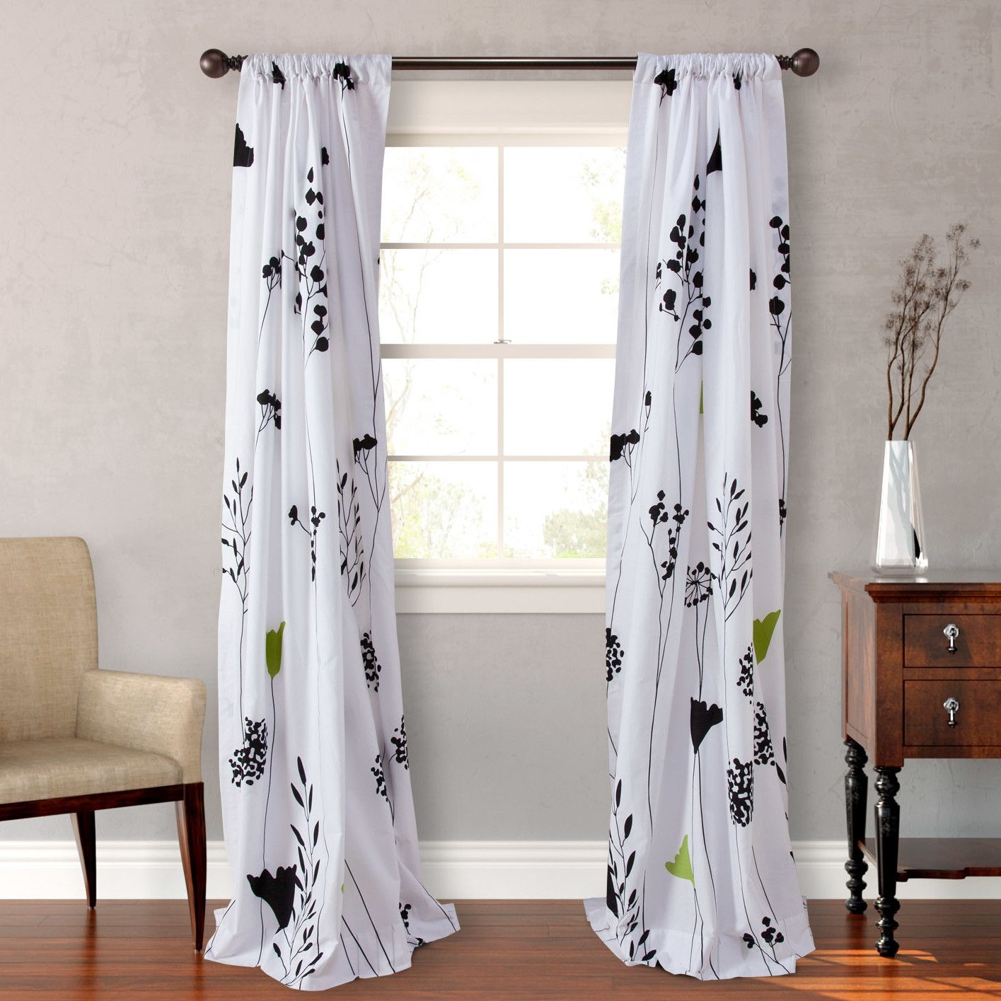 Asian Lily Lined Floral Semi Opaque Rod Pocket Curtain Panels With Regard To Asian Curtains Drapes (Image 10 of 25)