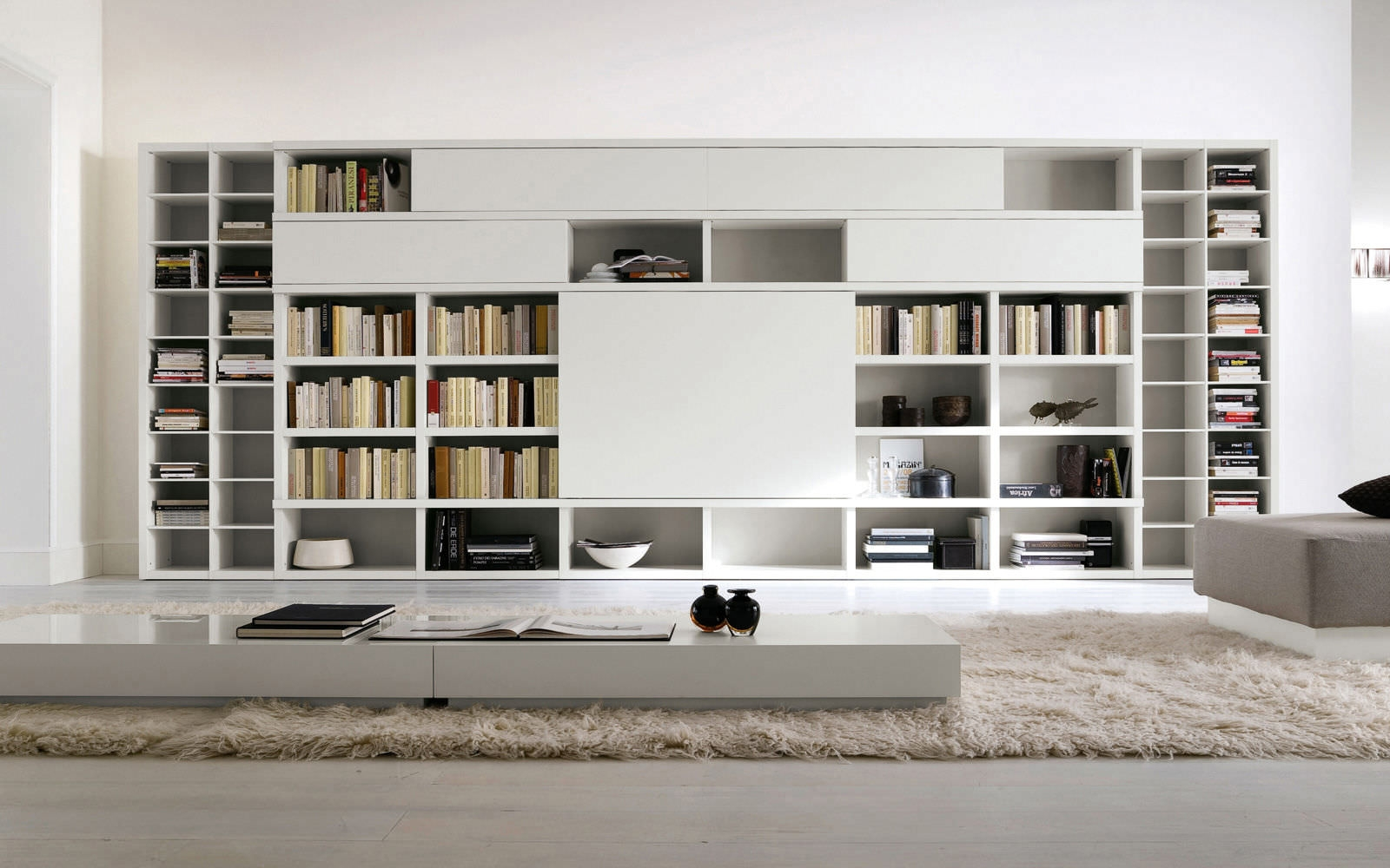Astonishing Furniture Wonderful White Lacquered Contemporary Big With Regard To Book Cabinet Design (Image 2 of 15)