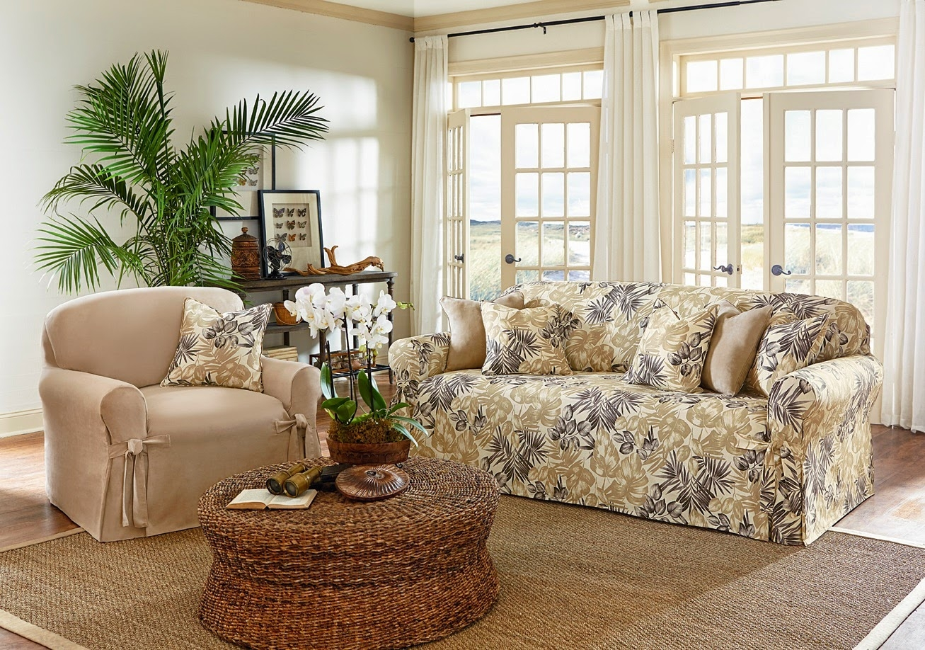 Astonishing Summer Living Room Decoration With Rattan Coffee Table Within Floral Sofas And Chairs (Image 2 of 15)