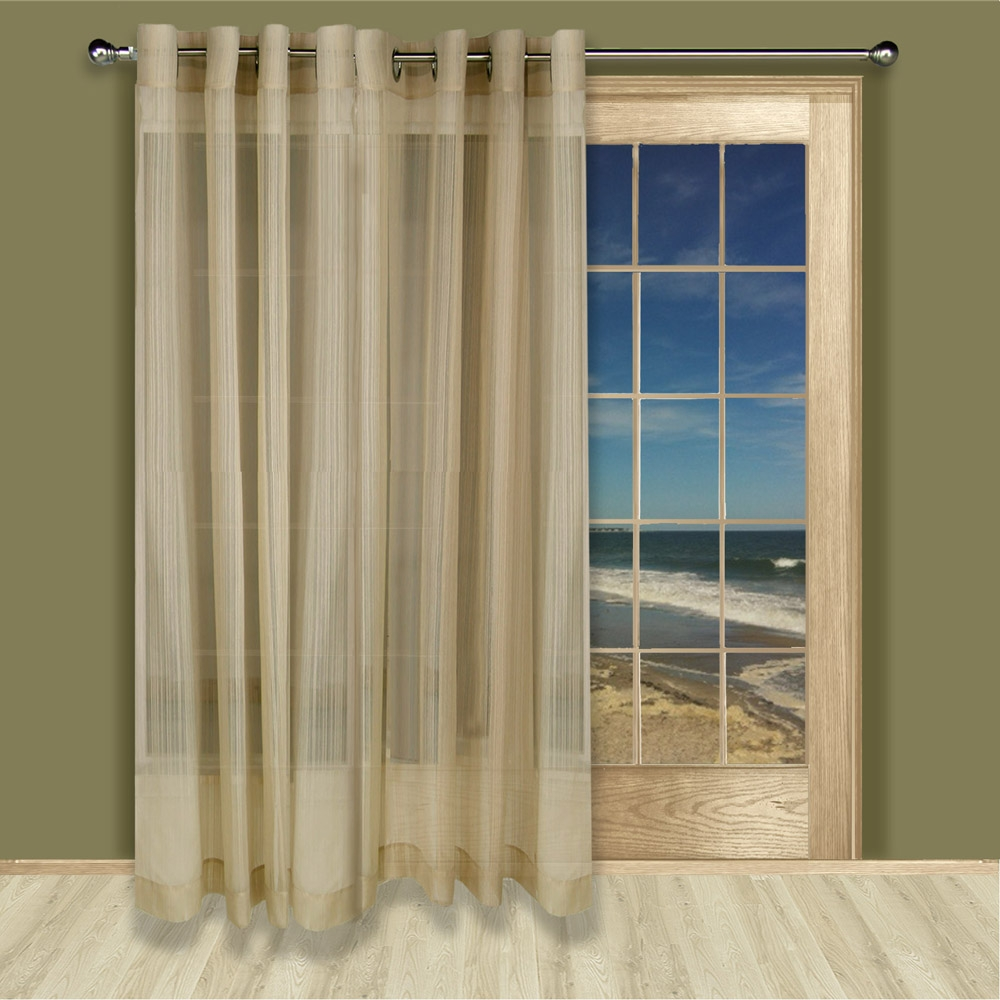 Atlantic Stripe Grommet Top Sheer Patio Curtain Panel Pertaining To Linen Grommet Curtains (Image 1 of 25)