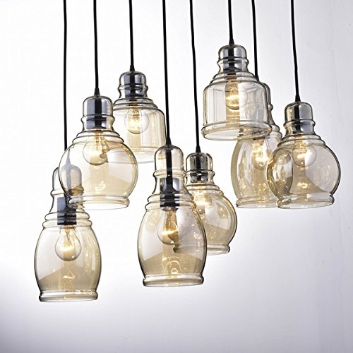 Awesome Best Glass 8 Light Pendants Throughout Jojospring Mariana 8 Light Cognac Glass Cluster Pendant In Antique (Image 3 of 25)