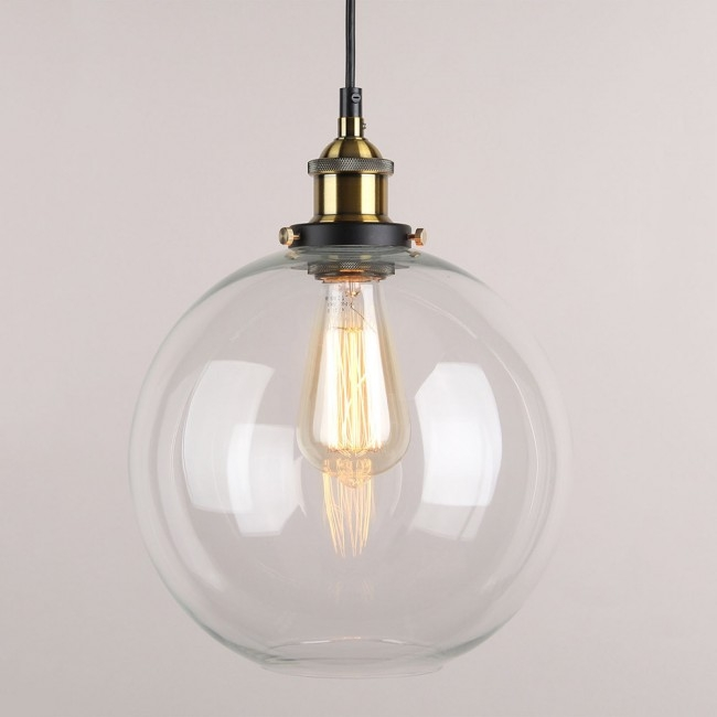 Awesome Best Glass Pendant Ceiling Lights Inside Winsoon Vintage Ceiling Lamp Clear Glass Pendant Lighting (Image 4 of 25)
