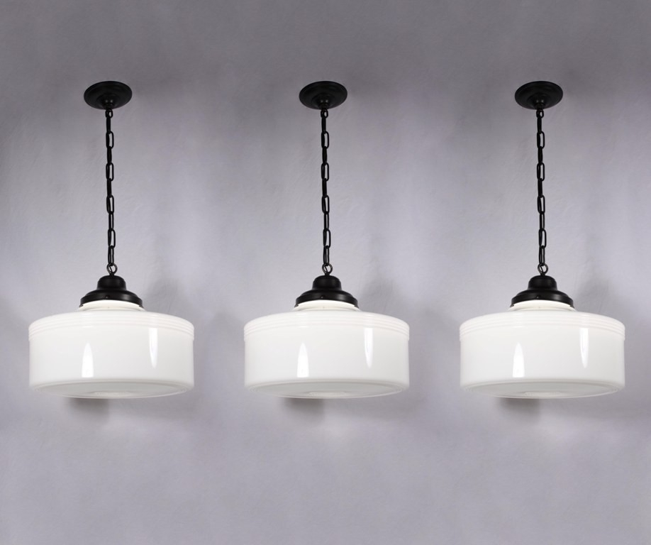 Awesome Best Milk Glass Pendant Light Fixtures Pertaining To Three Matching Large Antique Art Deco Pendant Lights With Original (Image 2 of 25)
