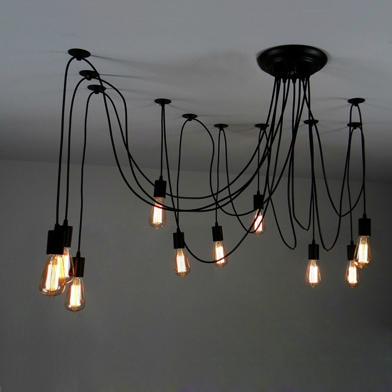 Awesome Brand New Multiple Pendant Light Fixtures Within 10 Light Adjustable Swag Multiple Pendant Black 7091800mm (View 22 of 25)