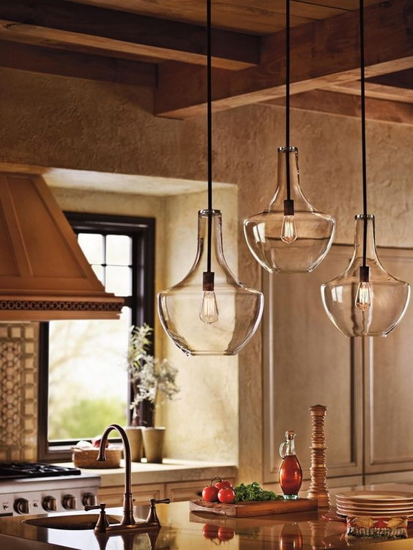 Awesome Brand New Rustic Clear Glass Pendant Lights For 30 Awesome Kitchen Lighting Ideas  (Image 4 of 25)