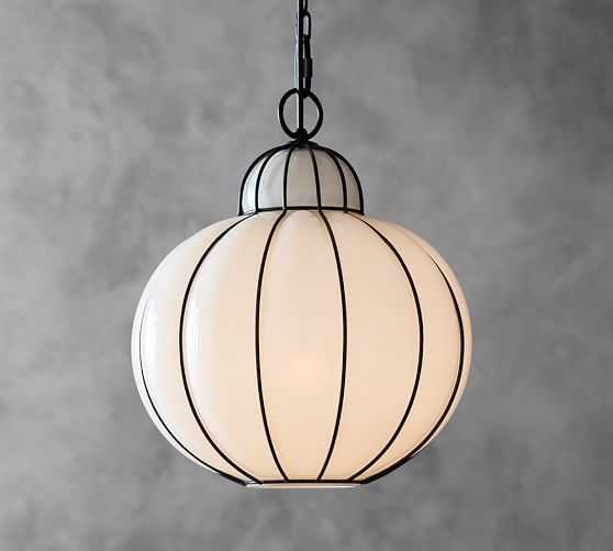 Awesome Common Milk Glass Light Fixtures For Camille Milk Glass Caged Pendant Pottery Barn (Image 3 of 25)