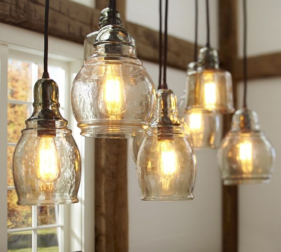 Awesome Common Paxton Pendant Lights Pertaining To Paxton Glass 8 Light Pendant Pottery Barn Pueblo Livingdining (Image 3 of 25)