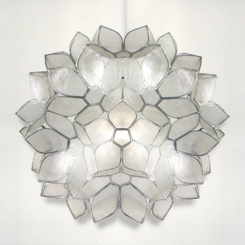 Awesome Elite Shell Light Shades Pendants Intended For Zeena Capiz Shell Flower Ball Pendant Light Shade Easy Fit (View 23 of 25)