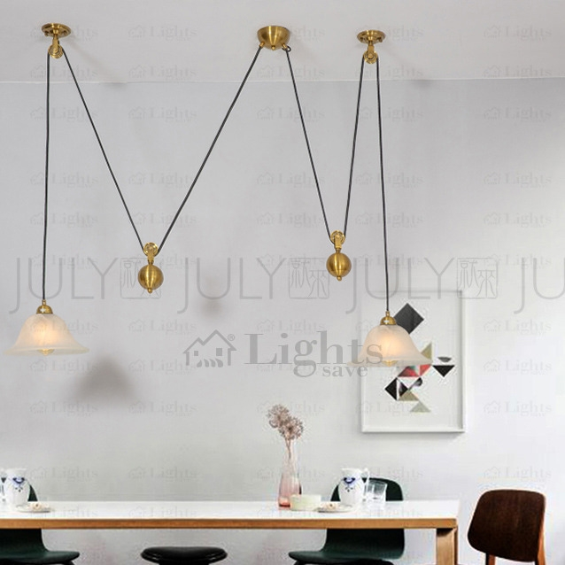 Awesome Famous Pull Down Pendant Lights With Brass 2 Light Pull Down Pendant Light Fixture Pulley Shaped (Image 4 of 25)