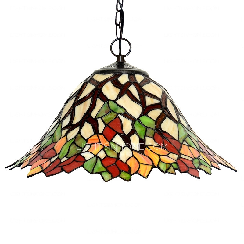 Awesome Famous Stained Glass Pendant Light Patterns In Leaf Pattern Stained Glass Pendant Lights For Kitchen (Image 4 of 25)