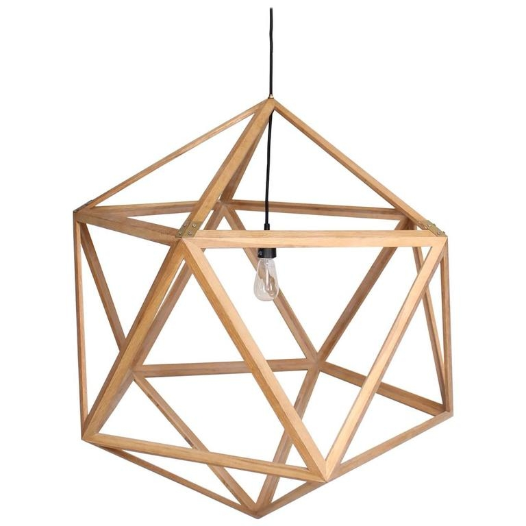 Awesome Fashionable Dodecahedron Pendant Lights Regarding Modern Dodecahedron Hanging Wood Hanging Chandelier For Sale At (Image 5 of 25)