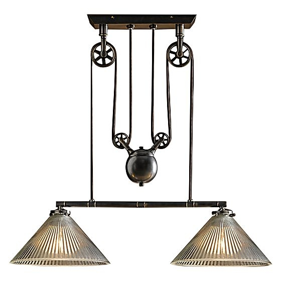 Awesome Fashionable Double Pulley Pendant Lights Within Industrial Pulley Double Pendant Light Amonson Lighting Zanui (Image 3 of 25)