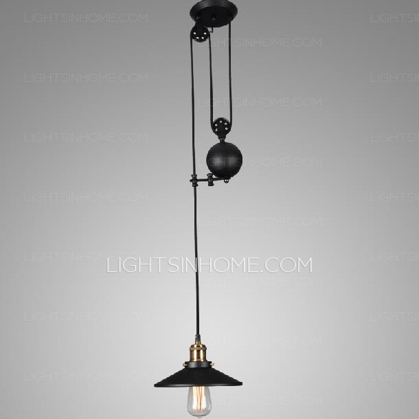 Awesome High Quality Pulley Pendant Lights With Industrial Black Mini Pendant Lights Pulley Wrought Iron (Image 4 of 25)