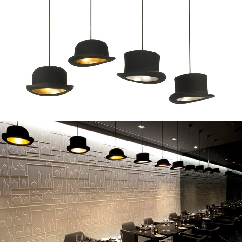 Awesome New Jeeves And Wooster Pendant Lights Intended For Jeeves And Wooster Authentic Bowler And Top Hat Pendant Lights (Image 3 of 25)