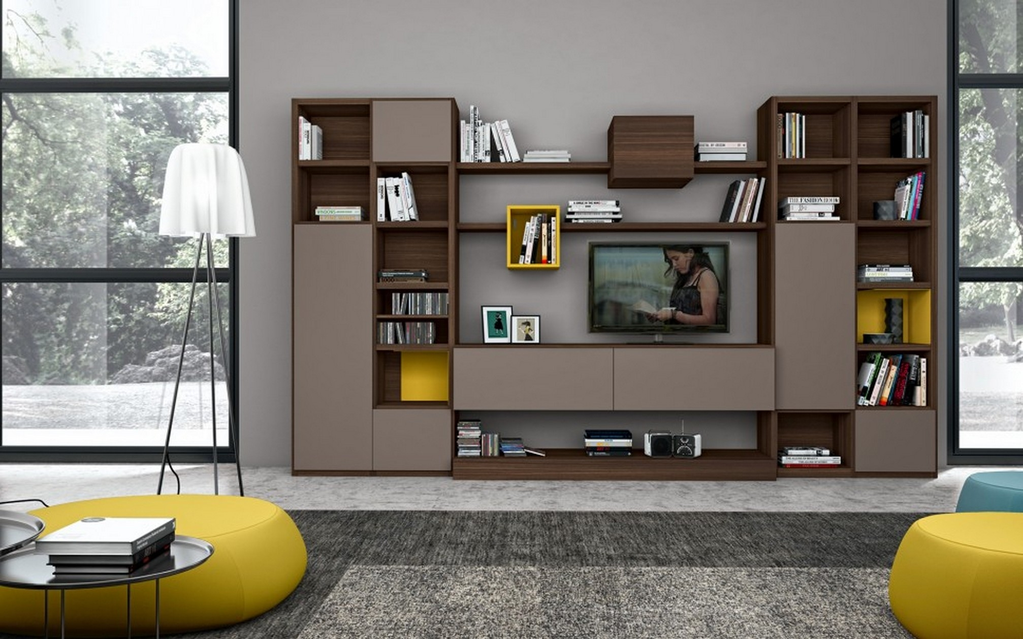 Awesome Tv Wall Cabinet Design Ideas Home Decorating Ideas With Regard To Tv Cabinet And Bookcase (Image 2 of 15)