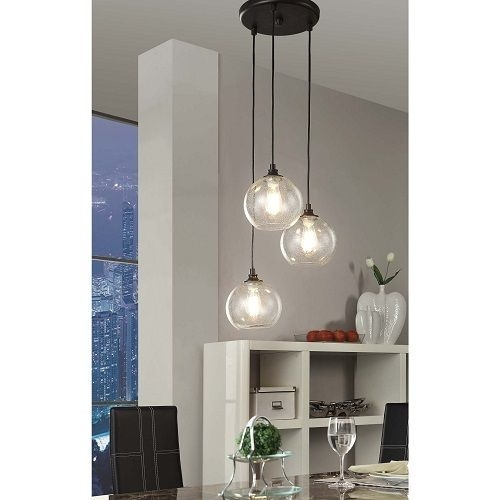 Awesome Unique 3 Light Pendants With Pendant Light 3 Light Cluster Black Clear Glass Dining Room (Image 5 of 25)