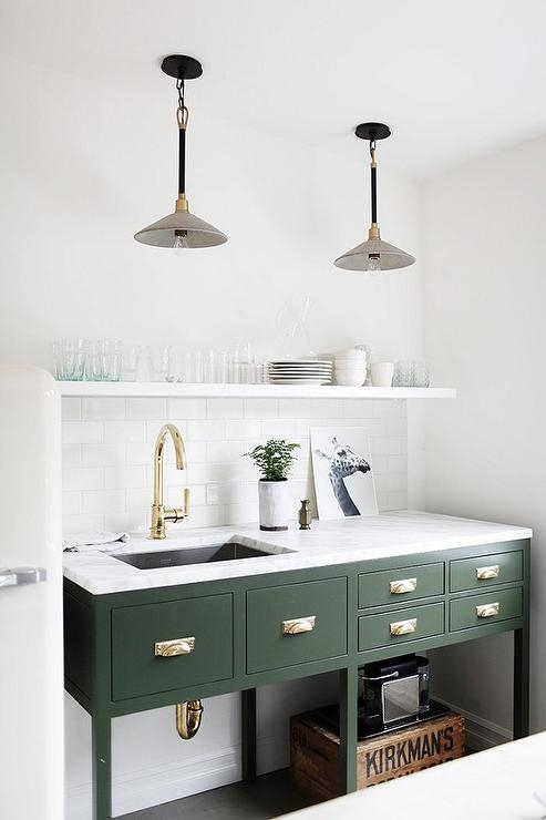 Awesome Unique Green Kitchen Pendant Lights Pertaining To Green Cabinets With Brass And Concrete Pendant Lights (View 10 of 25)