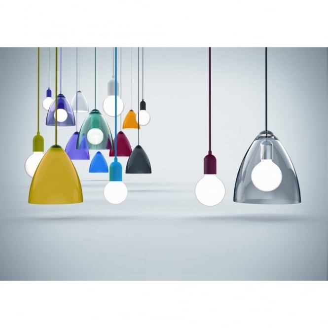 Awesome Wellknown Coloured Cord Pendant Lights Intended For Funk Purple Pendant Set With Coloured Cord (Image 4 of 25)