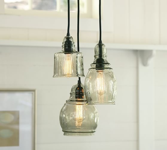 Awesome Well Known Three Pendant Lights Regarding Paxton Glass 3 Light Pendant Pottery Barn (Image 4 of 25)