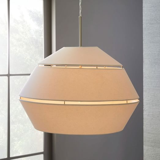 Awesome Wellknown West Elm Drum Lights Pertaining To Geo Fabric Shade Pendant Small Drum Polished Nickelwhite (Image 5 of 25)