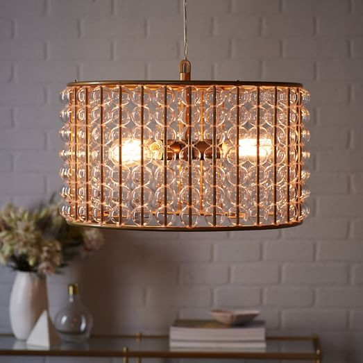 Awesome Well Known West Elm Drum Pendants Inside Marney Glass Chandelier Drum West Elm (Image 2 of 25)