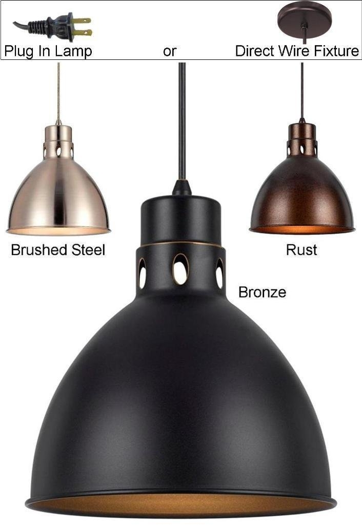 Awesome Widely Used Brushed Stainless Steel Pendant Lights Within Nickel Vintage Pendant Light 10 Wide Lamp Shade Pro (Image 4 of 25)