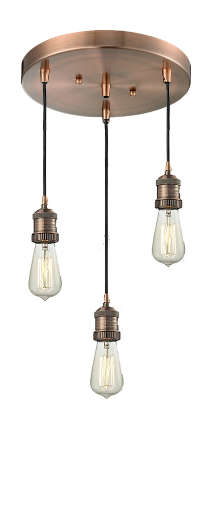 Awesome Widely Used Three Light Bare Bulb Pendants Inside Bare Bulb Adjustable Cord 3 Light Pan Chandelier 2113 Ac (Image 4 of 25)