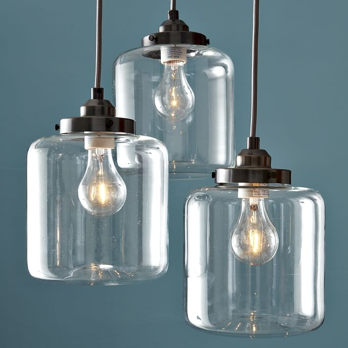Awesome Widely Used Three Pendant Lights In 3 Jar Glass Chandelier West Elm (Image 7 of 25)