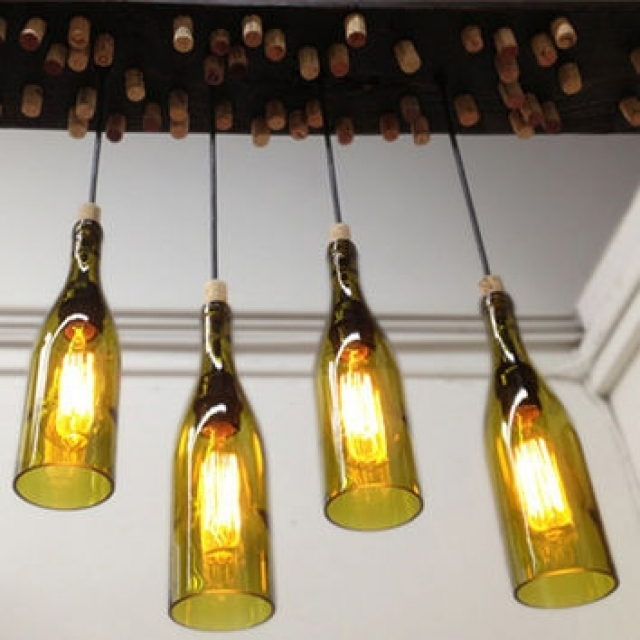 Awesome Widely Used Wine Bottle Pendant Lights Throughout Soda Bottle Chandelier Pendant Lights Houzz For Wine Bottle (View 12 of 25)