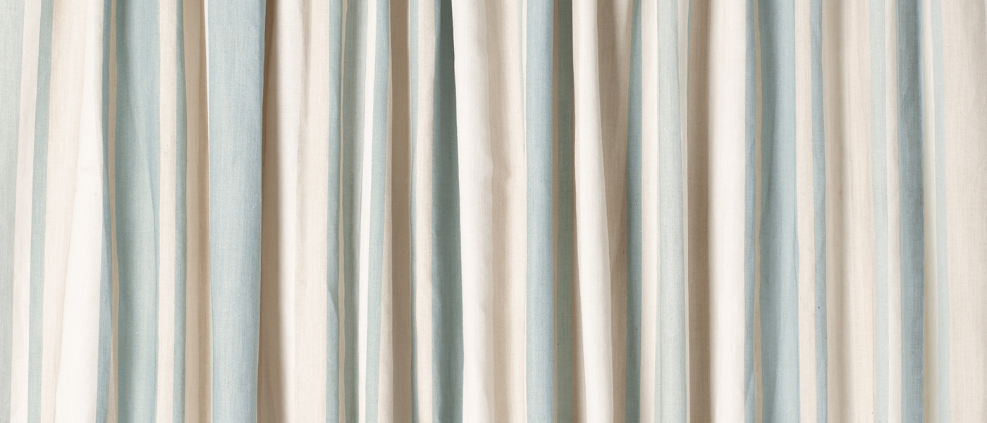 Awning Stripe Duck Egg Ready Made Curtains At Laura Ashley For Stripe Curtains (Image 4 of 25)