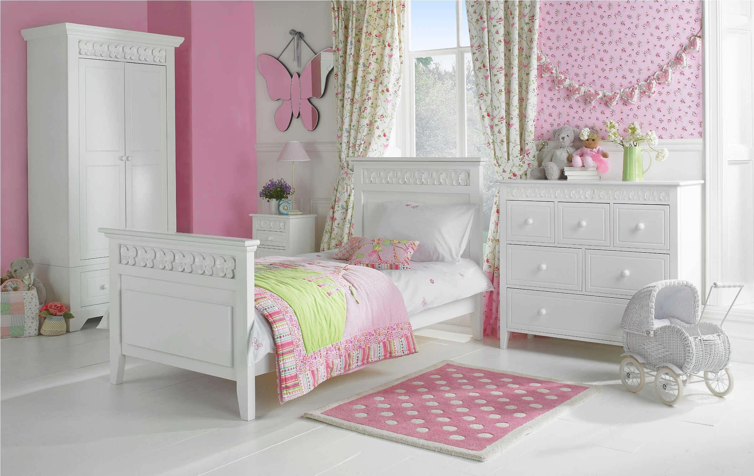 Ba Nursery Modern Kids Bedroom With Cool Furniture Girl Child Throughout Childrens Pink Wardrobes (Image 1 of 25)