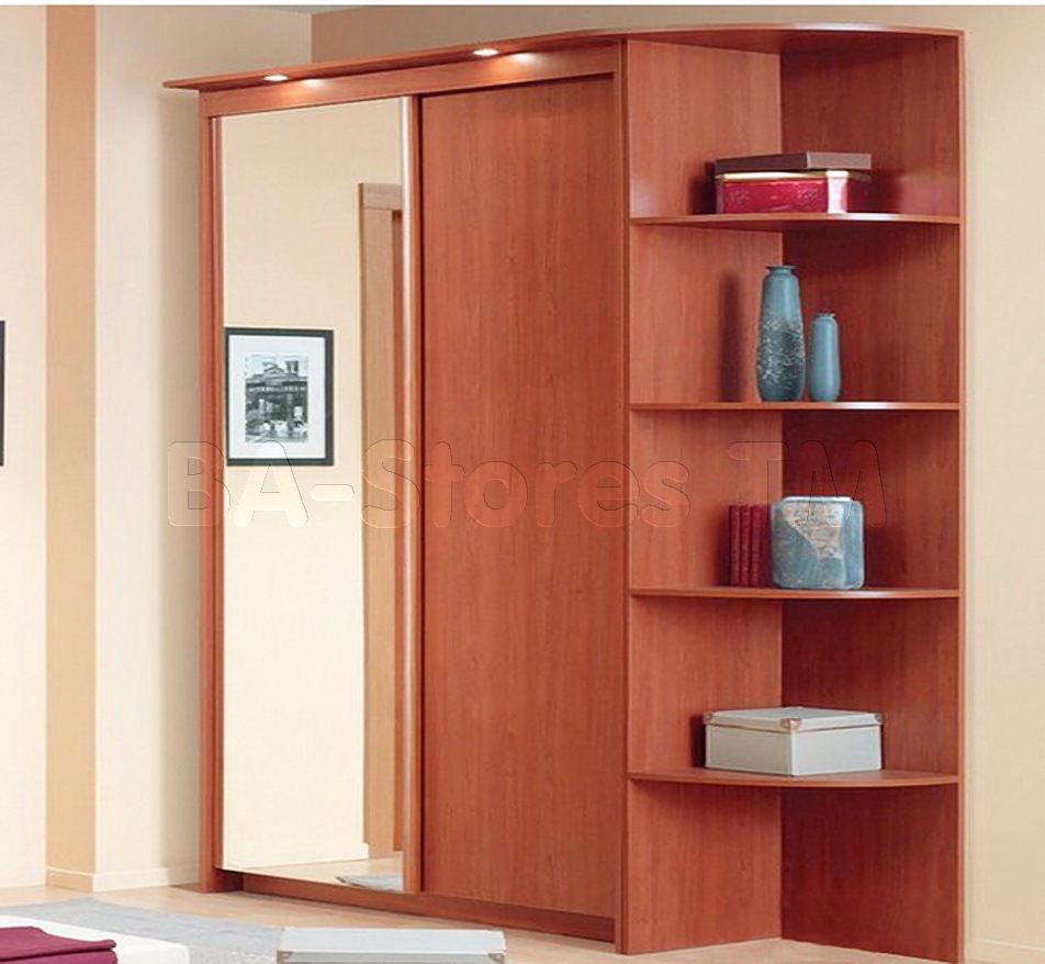 Baikal Solid And Mirror Sliding Doors Wide Wardrobe With Corner In Wardrobe With Shelves (View 2 of 25)