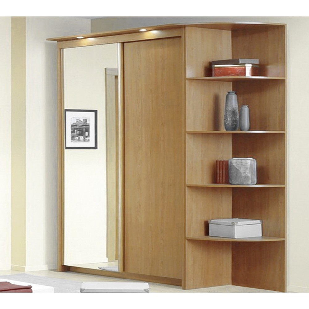 Baikal Solid And Mirror Sliding Doors Wide Wardrobe With Corner With Regard To Wardrobes With Shelves (Image 2 of 15)