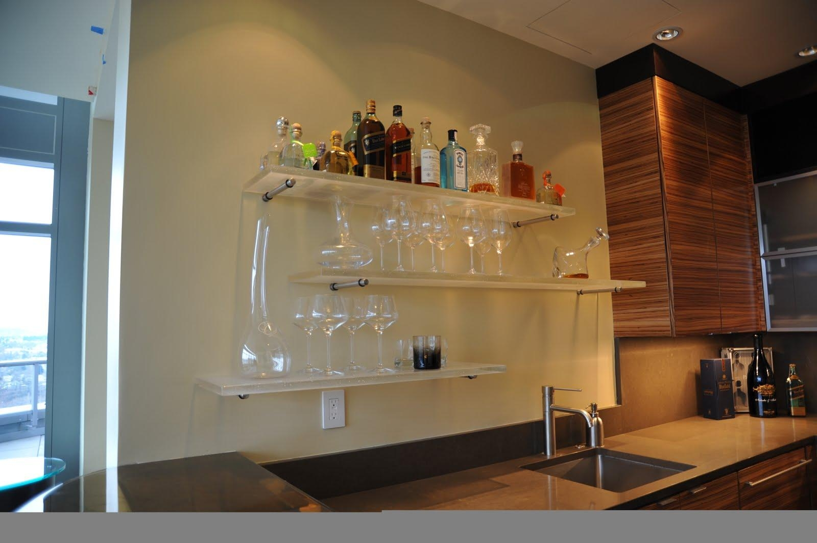 Bar Wall Decoration Ideas Roselawnlutheran Inside Floating Glass Shelves For Bar (Image 2 of 15)