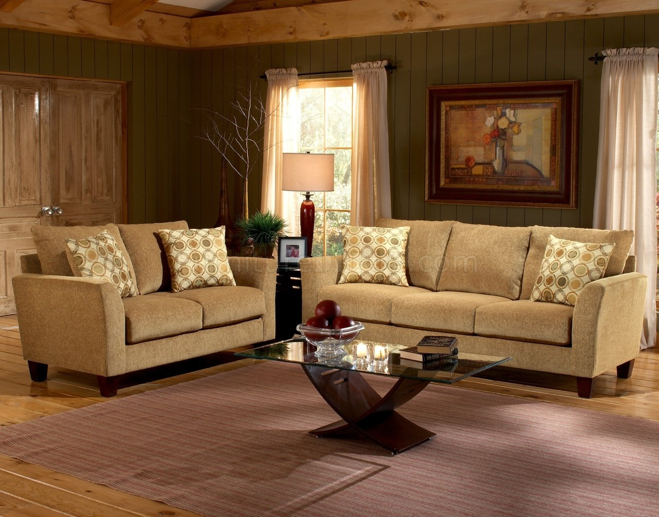 Barton Camel Fabric Casual Living Room Sofa Loveseat Set With Casual Sofas And Chairs (Image 1 of 15)