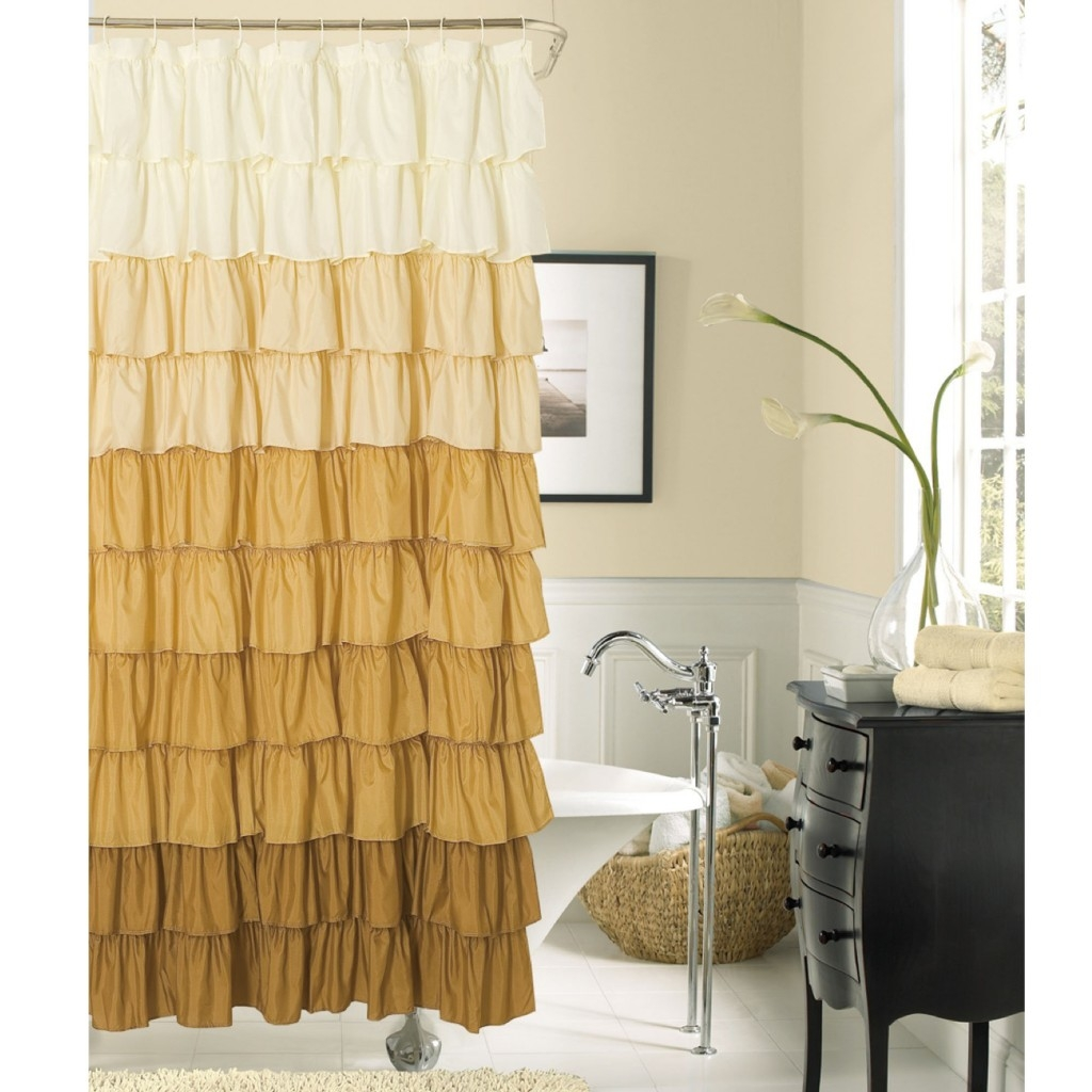 Bathroom Awesome White Ruffle Shower Curtain For Excellent For Peach Colored Curtains (Image 4 of 25)