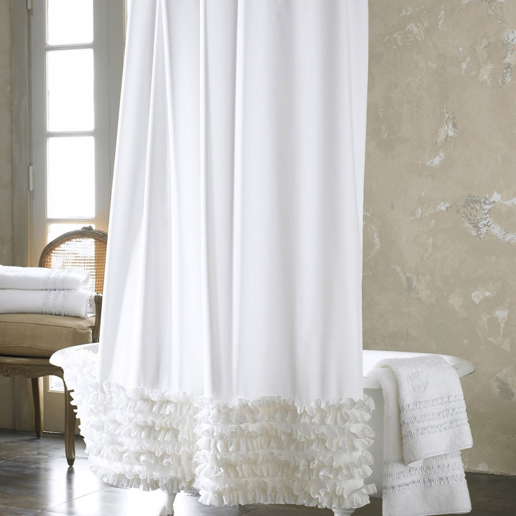 Bathroom Awesome White Ruffle Shower Curtain For Excellent For White Ruffle Curtains (View 7 of 25)