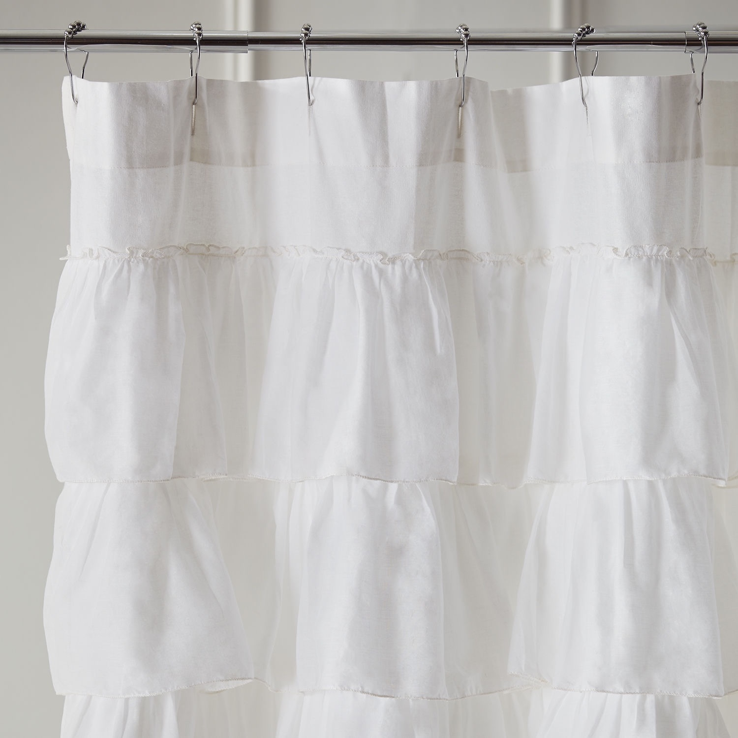 Bathroom Awesome White Ruffle Shower Curtain For Excellent Inside Peach Colored Curtains (Image 5 of 25)