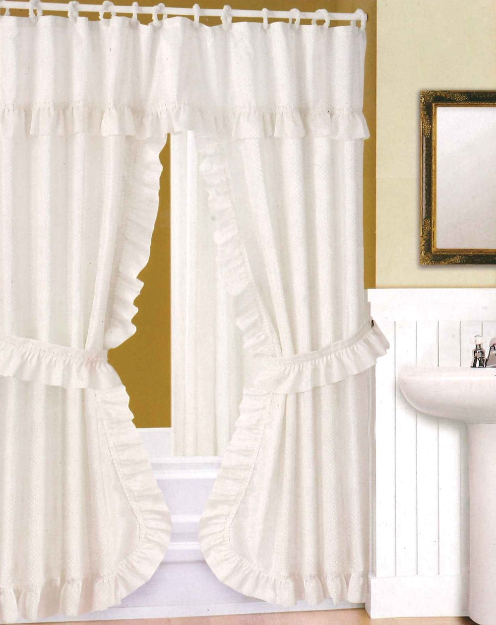 Bathroom Awesome White Ruffle Shower Curtain For Excellent With Regard To Peach Colored Curtains (Image 6 of 25)